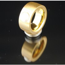 11mm PVD Gold Edelstahlring mit Swarovski Elements Fb. Perle hell