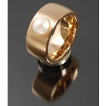 11mm PVD Rosé Gold Edelstahl Ring mit Swarovski Elements Fb. Perle hell