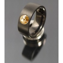 8mm Edelstahl Ring PVD schwarz  mit Swarovski Elements Fb. Light Colorado Topaz