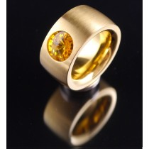 14mm PVD Gold Edelstahlring mit Swarovski Elements Fb. Sunflower