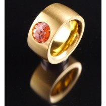 14mm PVD Gold Edelstahlring mit Swarovski Elements Fb. Rose Peach