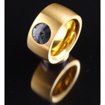 14mm PVD Gold Edelstahlring mit Swarovski Elements Fb. Denim Blue