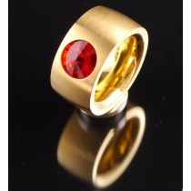 14mm PVD Gold Edelstahlring mit Swarovski Elements Fb. Siam light