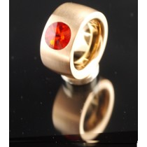 14mm PVD Rosé Gold Edelstahlring mit Swarovski Elements Fb. Siam light