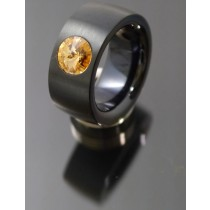 11mm PVD schwarz Edelstahl Ring mit Swarovski Elements Fb. Light Colorado Topaz